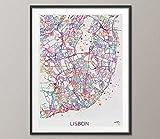 Impresión de mapa de la ciudad de Lisboa, arte de acuarela para pared, arte de Portugal, Lisboa, mapa de calle, viajes, Wanderlust, decoración para colgar en la pared, mapa de Lisboa [NO 809]