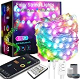 65.6FT Smart Fairy String Lights - 132LED Fairy Lights with Music Mode Remote App Control RGB Color Changing Timer Compatible with Google Home Alexa USB Powered for Christmas Decoration