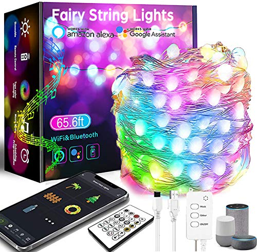 656FT Smart Fairy String Lights  132LED Fairy Lights with Music Mode Remote App Control RGB Color Changing Timer Compatible with Google Home Alexa USB Powered for Christmas Decoration