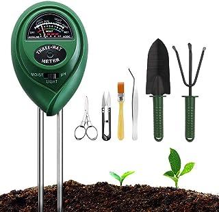 Soil Moisture Meter Sunlight Tester with Upgrade Bonsai Tools, 3 in 1 Soil Test Kit for PH/Moisture/Light, for Home and Ga...