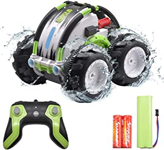 Remote Control Stunt Car, MDrebel Land Water 2 in 1 360 Degree Spinning Waterproof RC Car, 4WD 2.4Ghz All Terrain Amphibious Toy car for Kids