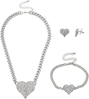 Lux Accessories Bling Heart Chain Earring Bracelet Necklace Jewelry Gift Set 3PC
