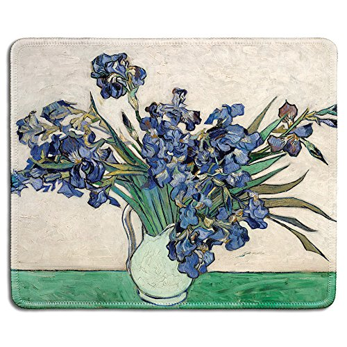 dealzEpic - Art Mousepad - Natural Rubber Mouse Pad with Famous Fine Art Painting of Irises in White Vase 1890 by Vincent Van Gogh - Stitched Edges - 9.5x7.9 inches