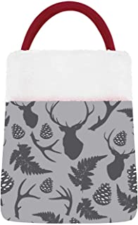 C COABALLA Forest Seamless Pattern with Deer,Christmas Stocking Velvet ta's Gift Sack, Candy Pouch Bags for Xmas Party Fav...