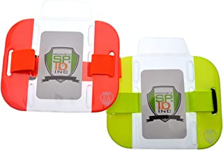 2 Pack - High Visibility Bright Neon Armband ID Card Badge Holders - Secure Top Loading with Adjustable Elastic Band - HI VIS Arm Bands for Work or Ski Passes by Specialist ID (Assorted Colors)