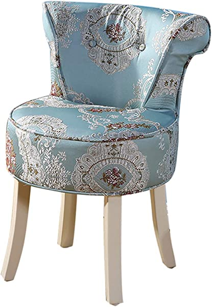 ZDY Shabby Chic Chair Makeup Stool Padded Bench Chair Dressing Chairs And Stools Baroque Piano Chair Solid Wood Legs Upholstered For Dressing Room Living Room Bedroom Restaurant
