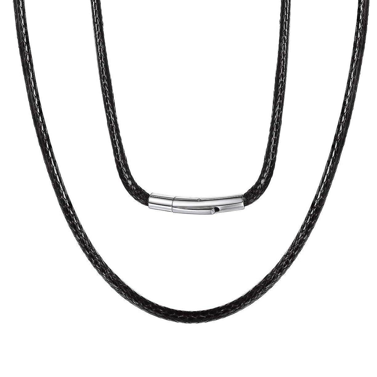 モノグラフ日記手術ChainsPro 幅3mm 45cm チェーン ネックレス メンズ 黒 ブラック チョーカー レディース ワックスコード アクセサリー