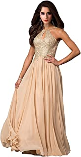 Lily Wedding Womens Halter Gold Applique Prom Bridesmaid Dresses 2019 Long Chiffon Evening Formal Gowns P199