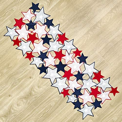 Americana July 4th Celebration Fabric Cutwork Table Runner Stars Cutwork Runner product image