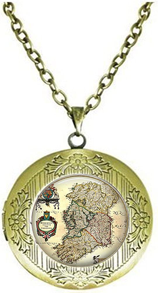 stap Antique Map of Ireland Early 1800s Locket Necklace