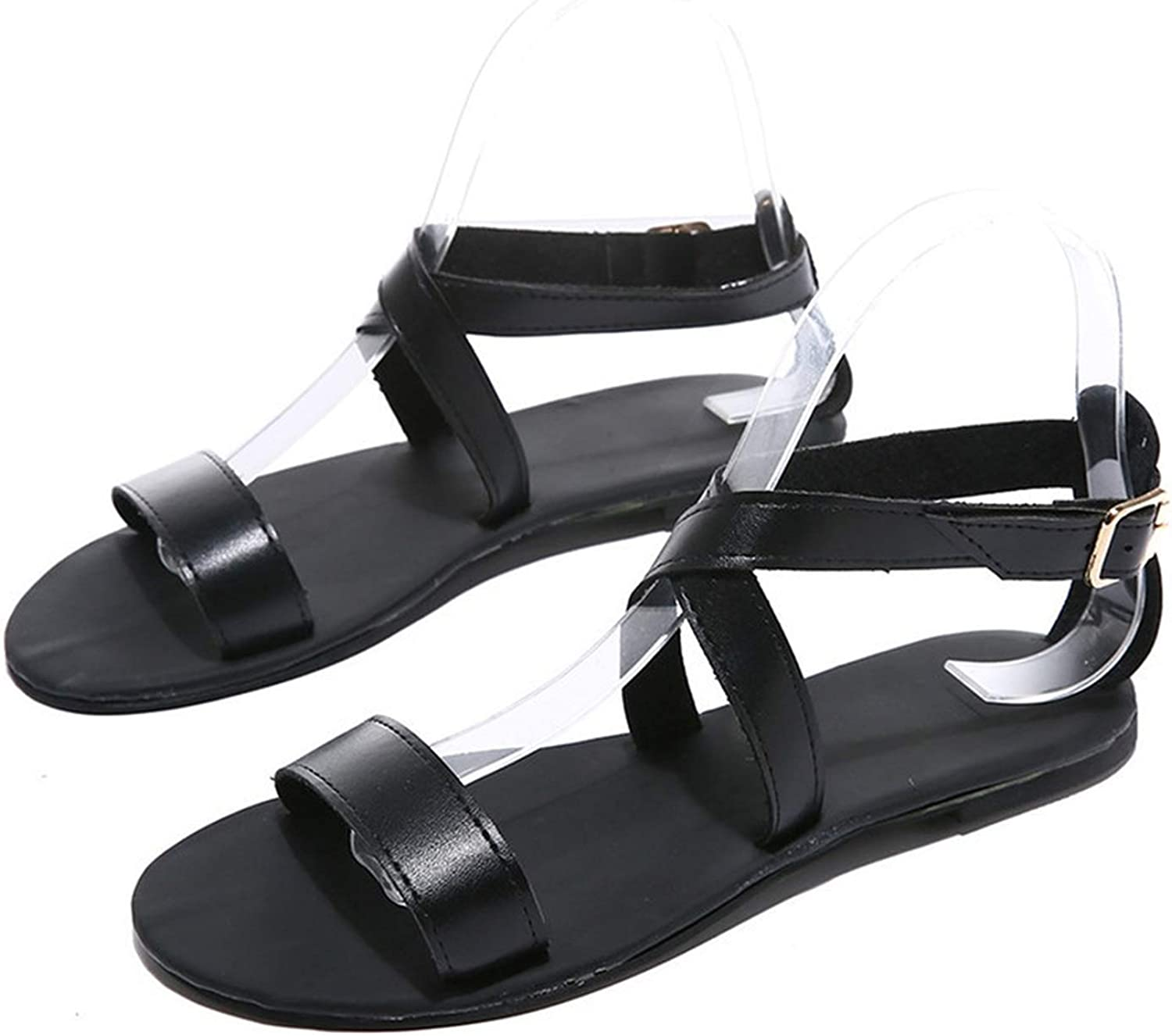 Women Sandals Summer Slip-On Peep Toe Casual Woman shoes Leather Soft Gladiator Sandals