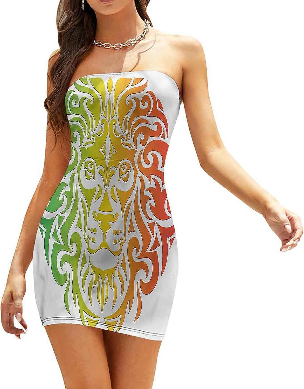 Women's Summer Strapless Dresses Colorful Lion Portrait Dresses