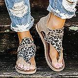 XXFZDCP Zapatos Sandalias de Gladiador para Mujer, Sandalias de tacón Plano con Estampado de Leopardo, Sandalias Planas de Verano, Sandalias de Tiras de Tobillo Vintage con Cremallera Cómodo Duradero