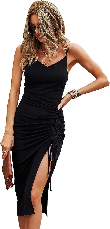 Verdusa Women's Drawstring Ruched High Split V Neck Midi Bodycon Cami Dress