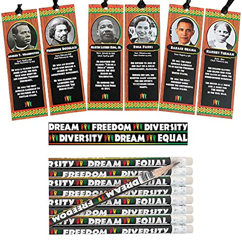 Celebrate Black History & Diversity with Educational Biography Bookmarks Assortment and Pencils Set