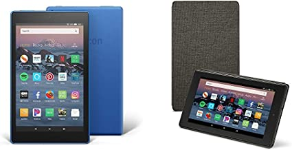 Fire HD 8 Tablet (16 GB, Marine Blue, With Special Offers) + Amazon Standing Case (Charcoal Black)