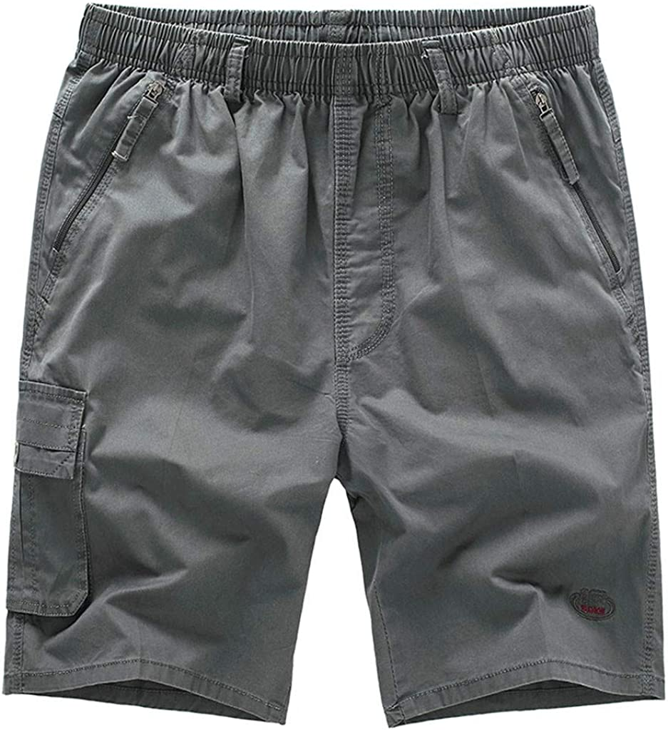 DIOMOR Men Casual Plus Size Pure Color Cargo Shorts Relaxed Fit Big and Tall Hiking Trunks Multi Pockets Outdoor Pants