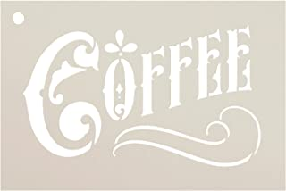 Coffee Stencil by StudioR12 | Victorian Decorative Word Art Reusable Mylar Template | Painting, Chalk, Mixed Media | Use f...