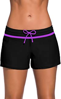 Womens Side Split Waistband Swim Shorts with Panty Liner Plus Size S - 3XL