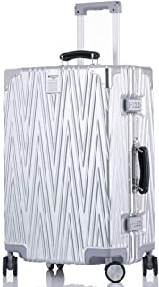 SMLCTY Scratch-resistant Aluminum Frame Trolley Case,Lightweight ABS Hard Shell Hold Check In Luggage Suitcase with 4 Wheels (Color : Silver, Size : 20 inch)