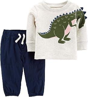 Carter's 2-Piece Dinosaur Top & Poplin Pant Set Size Newborn Heather/Navy