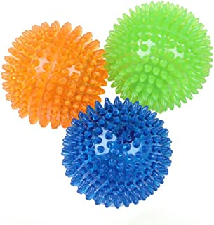 3Pcs Dog Silicone Molar Balls Squeaky Dog Bite Toy for Large Small Dogs Pets Training Toys Size M (Green Orange Blue)