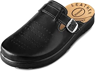 Bravo 307/1 Anatomic Leather Slip-on Mule Clogs Slippers Shoes Men, Black