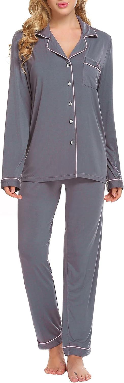Ekouaer Pajamas Set Long Max 45% OFF Sleeve Down Sleepwear Ranking TOP16 Nig Button Womens