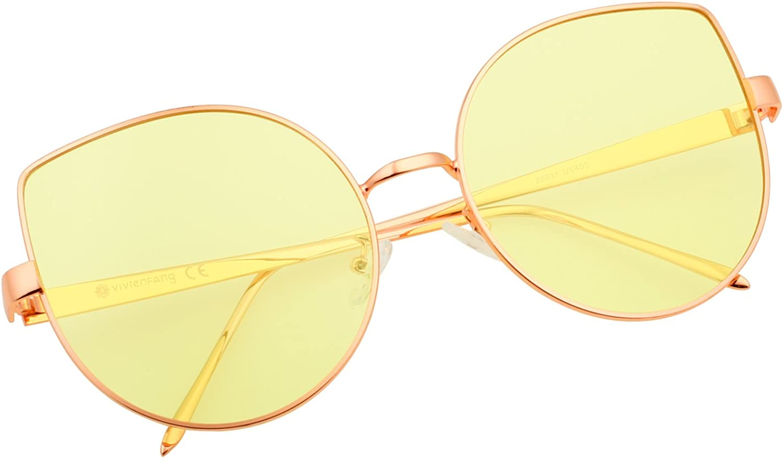 VIVIENFANG color Tinted Flat Lens Cat Eye Sunglasses Women Oversized Shades 86931