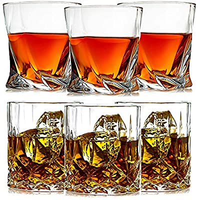 Whiskey Glasses,Old Fashioned Whiskey Glass Set of 6 Whiskey Glasses,Whiskey Gifts for Men Scotch Lovers,Style Glassware for Bourbon,Rum Glasses,Bar Whiskey Glasses