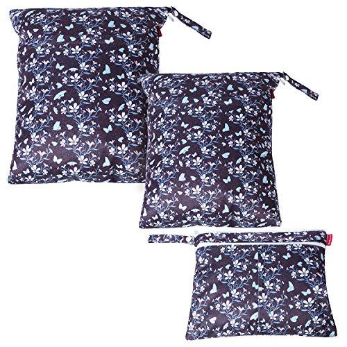 Damero Borsa per Pannolini 3 Pcs, Sacchetto del pannolino lavabile con zip, Bag Pannolino per Pannolini per Bambini, Vestiti Sporchi e Altro, Fiori e farfalle