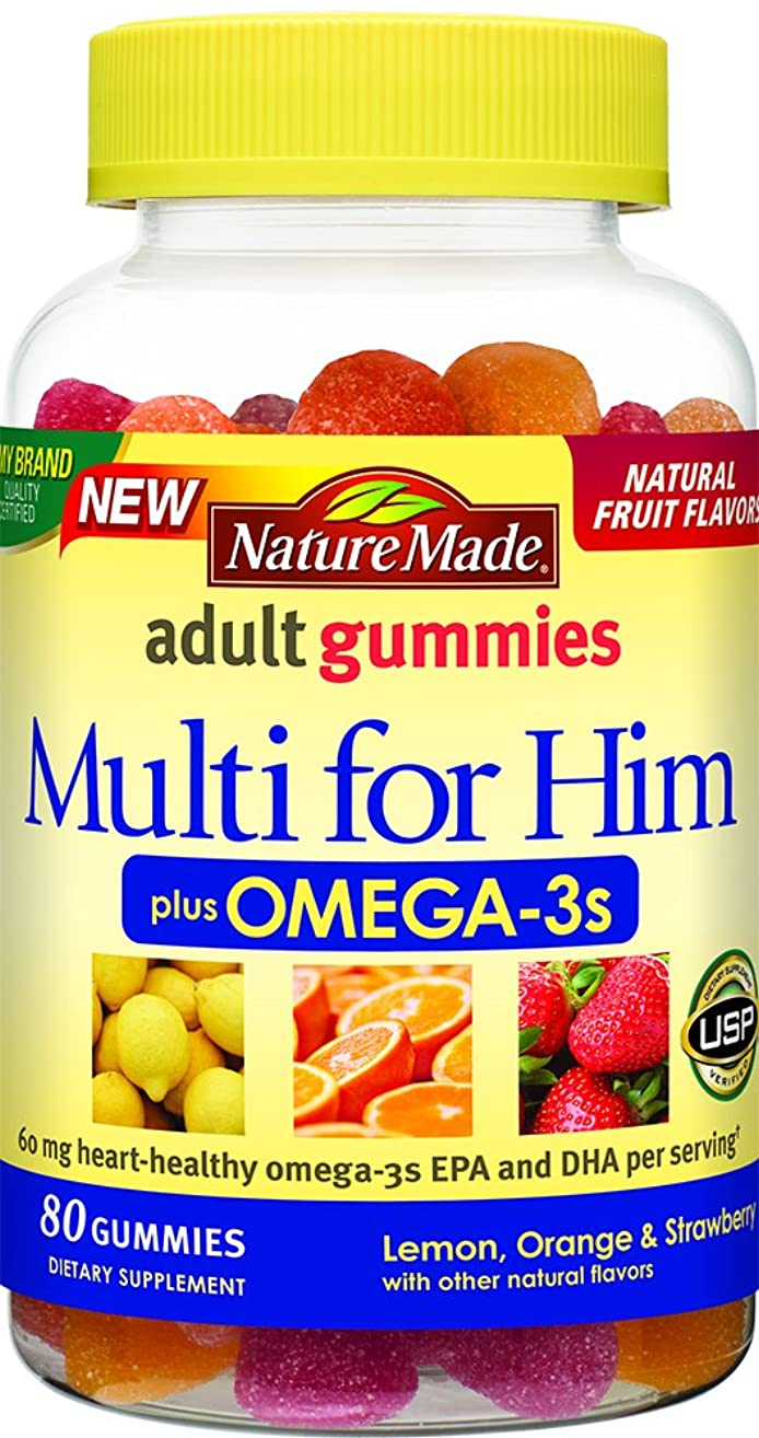 Nature Made Multi for Him + Omega-3 Adult Gummies w. 60 mg of EPA and DHA Omega 3 Value Size 80 Ct