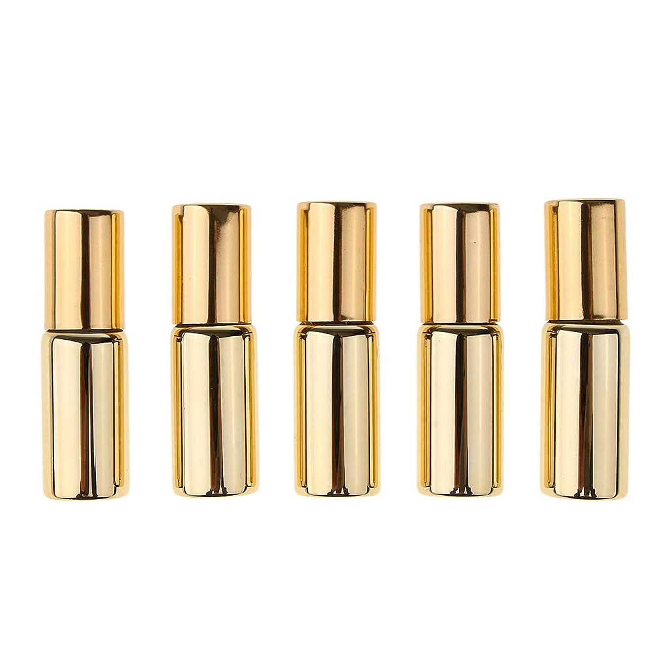 Perfeclan ローラーボトル ガラスボトル 5本 空の遮光ビン アロマ 小分け容器 詰替え 5ミリ 全2色 - ゴールド