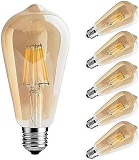 フィラメント LED電球 エジソンランプ E26口金 (6W) 50W形相当 電球色相当2700K 広配光タイプ 360度発光 LED電球 茶色 クラシック レトロ電球 シャンデリア用LED電球 調光器対応 (6個入)