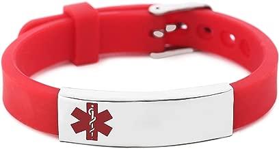 BAIYI Silicone Bracelet Medical Alert ID for Men and Women Adjustable Size (Free Engraving)