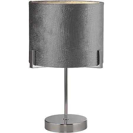 Lighting Collection 1 Light Alligator Snake Skin Grey Velvet Table Lamp, Chrome