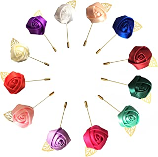 WeddingBobDIY 12Pieces/lot Groom Boutonniere Wedding Silk Rose(3.5cm) Flowers Accessories Prom Pin Man Suit Decoration (Mixed Color)