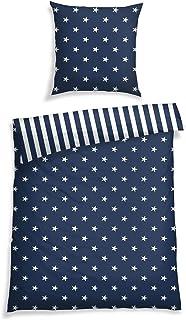 Schiesser Bettwäsche Sterne Blau, 100% Baumwolle, Größe:135 x 200 cm  80 x 80 cm