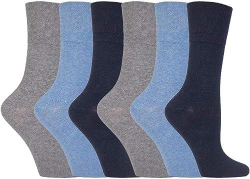 IOMI FOOTNURSE - Ladies 6 pack loose non elastic diabetic socks with hand linked toe seams 4-8 uk