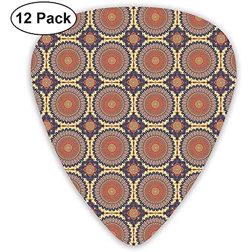 Gitarren-Plektren 12er-Pack, ethnische runde Figur mit arabeskenfarbenen Details Östliche alte maurische Kultur