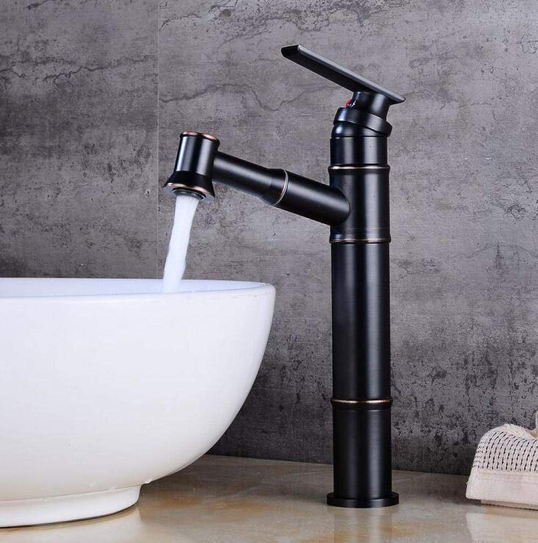 Badezimmer Küche Warmes Und Kaltes Wasser Schwarzer Bronzezughahn-Badezimmerbassin-Hoher Hahnwaschbecken-Heier Und Kalter Wasserhahn
