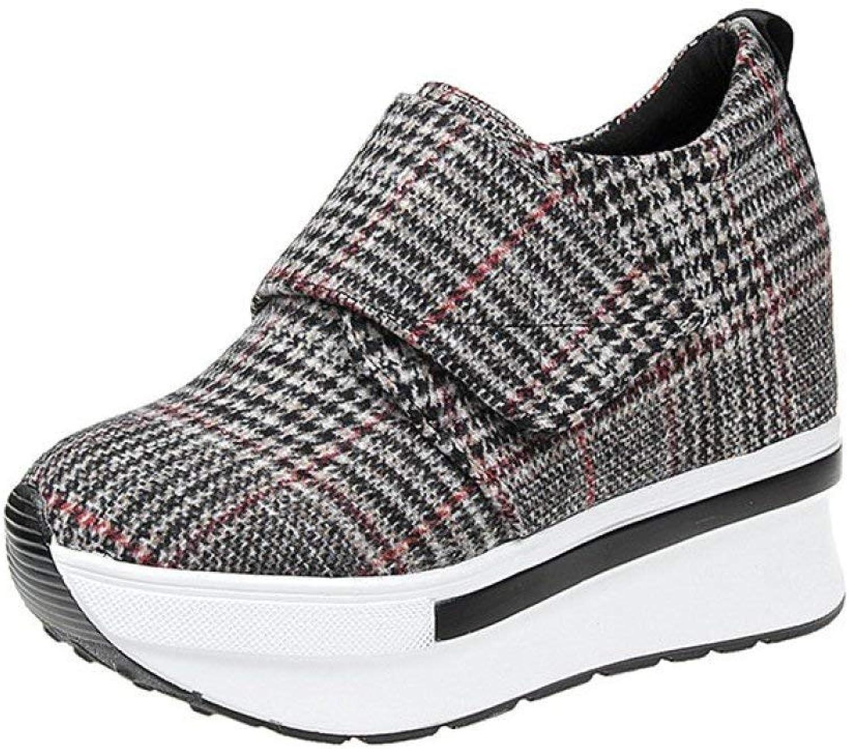 Fashion shoesbox Womens Wedge Canvas Casual Sneakers Females Hook & Loop Plaid Thick Heavy Platform Walking Travel shoes