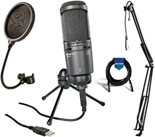 Audio Technica AT2020USB Plus Cardioid Large Diaphragm Condenser USB Mic with On-Stage MBS5000 Broadcast/Webcast Microphon...