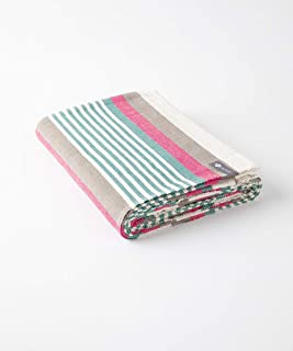 "Halfmoon Beach Stripe 100% Cotton Yoga Blanket: Ideal for Meditation, Travel, Camping, Throw Blanket, or Yoga Rug [60"" x 8..."