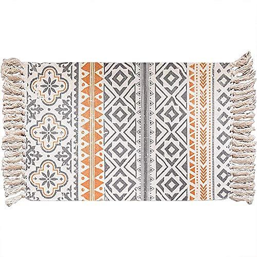 Yonphy Retro Dekorative Teppiche mit Quasten Baumwolle Waschbare Teppiche für Eingangstür, Küche, Keller, Wohnzimmer usw. 60 x 90 cm
