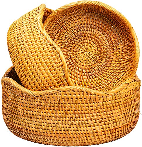 Wicker Fruit Baskets For Bread Vegetable Bowl Food Storage Organizing Kitchen Counter Wall Decorative Natural Rattan Round Basket Serving Bowls Chips Small To Large Set of 3 KOLSTRAW (Honey Brown)