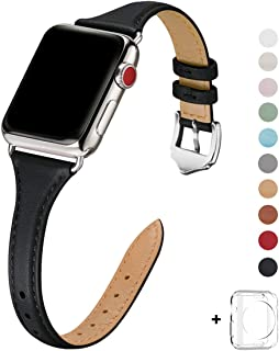 WFEAGL Leather Bands Compatible with Apple Watch 38mm 40mm 42mm 44mm, Top Grain Leather Band Slim & Thin Replacement Wristband for iWatch Series 5/4/3/2/1 (Black/Silver, 38mm 40mm)
