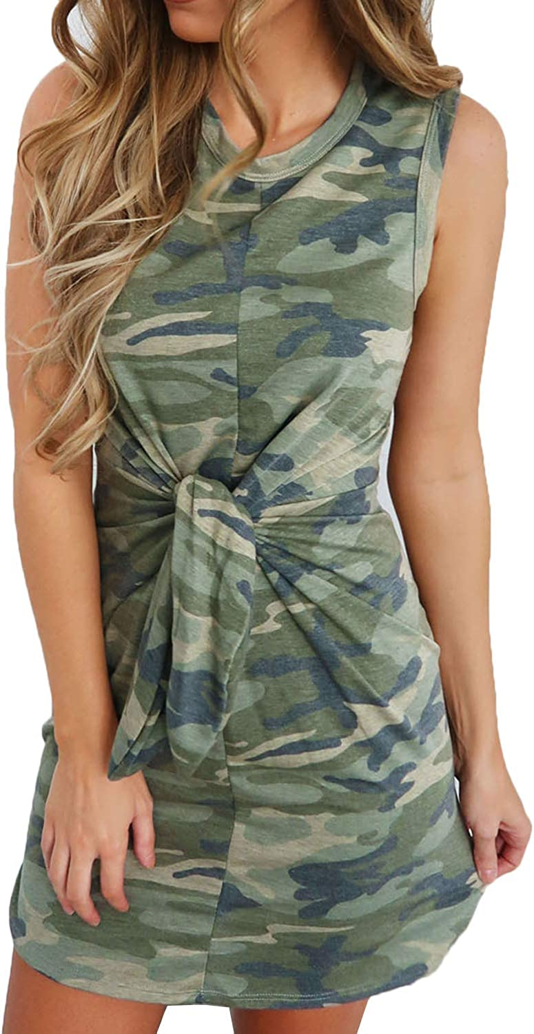 CHOiES record your inspired fashion Women's Casual Camouflage Print Tie Front Sleeveless Mini Dress Slim Fit