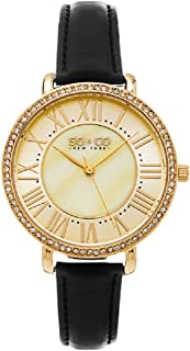 So & Co New York Soho Women's Quartz Watch With White Dial Analogue Display and Black Leather Strap 5090.3, Black Band