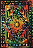Hippie Mandala Sun and Moon Maditation Twin Tapestry Wall Hanging - Indian Golden Burning Sun Stars Psychedelic Popular Mystic Tie dye Beach Blanket 54 x 82 Inch